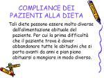 compliance dei pazienti alla dieta