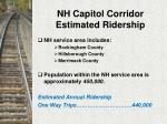 nh capitol corridor estimated ridership