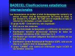 badecel clasificaciones estad sticas internacionales