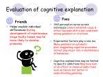 evaluation of cognitive explanation