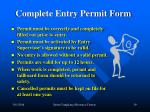 complete entry permit form