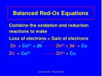 balanced red ox equations