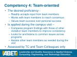 competency 4 team oriented