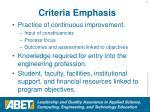 criteria emphasis