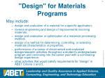 design for materials programs