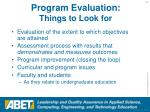 program evaluation things to look for