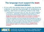 the language must support the team recommendation51