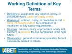 working definition of key terms