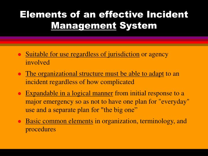 Elements of an effective incident management system