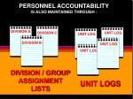 personnel accountability is also maintained through