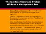 the incident command system ics as a management tool