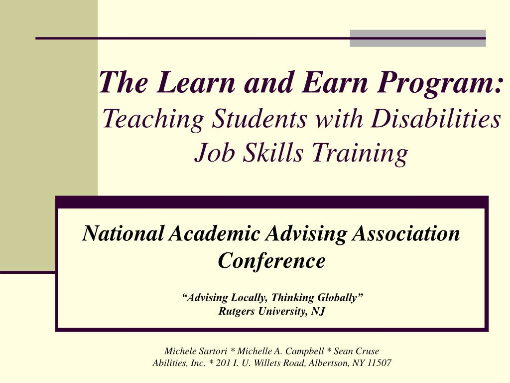 the learn and earn program teaching students with disabilities job skills training l.