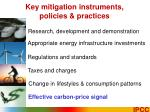 key mitigation instruments policies practices