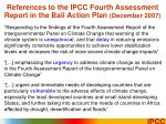 references to the ipcc fourth assessment report in the bali action plan december 2007