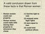 a valid conclusion drawn from these facts is that roman women