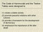 the code of hammurabi and the twelve tables were designed to