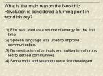 what is the main reason the neolithic revolution is considered a turning point in world history