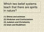 which two belief systems teach that there are spirits in nature