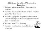 additional benefits of cooperative learning
