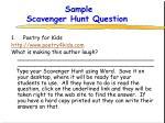 sample scavenger hunt question