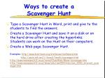 ways to create a scavenger hunt