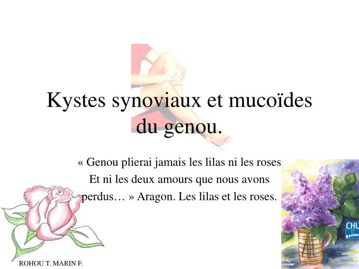 kystes synoviaux et muco des du genou n.