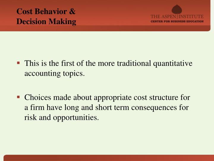Cost Behavior &