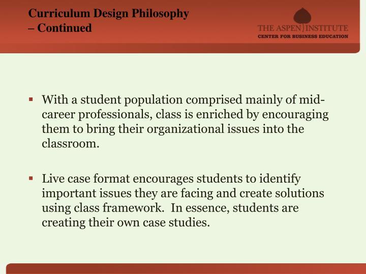Curriculum Design Philosophy