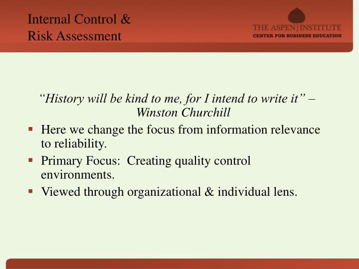 Internal Control &