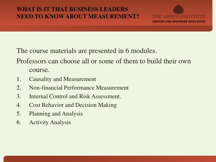 WHAT IS IT THAT BUSINESS LEADERS