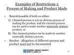 examples of restrictions 5 process of making and product made