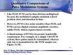 qualitative comparisons of pulse modulation systems