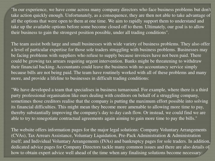 """""""In our experience, we have come across many company directors who face business problems but don't ..."""