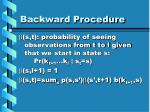 backward procedure