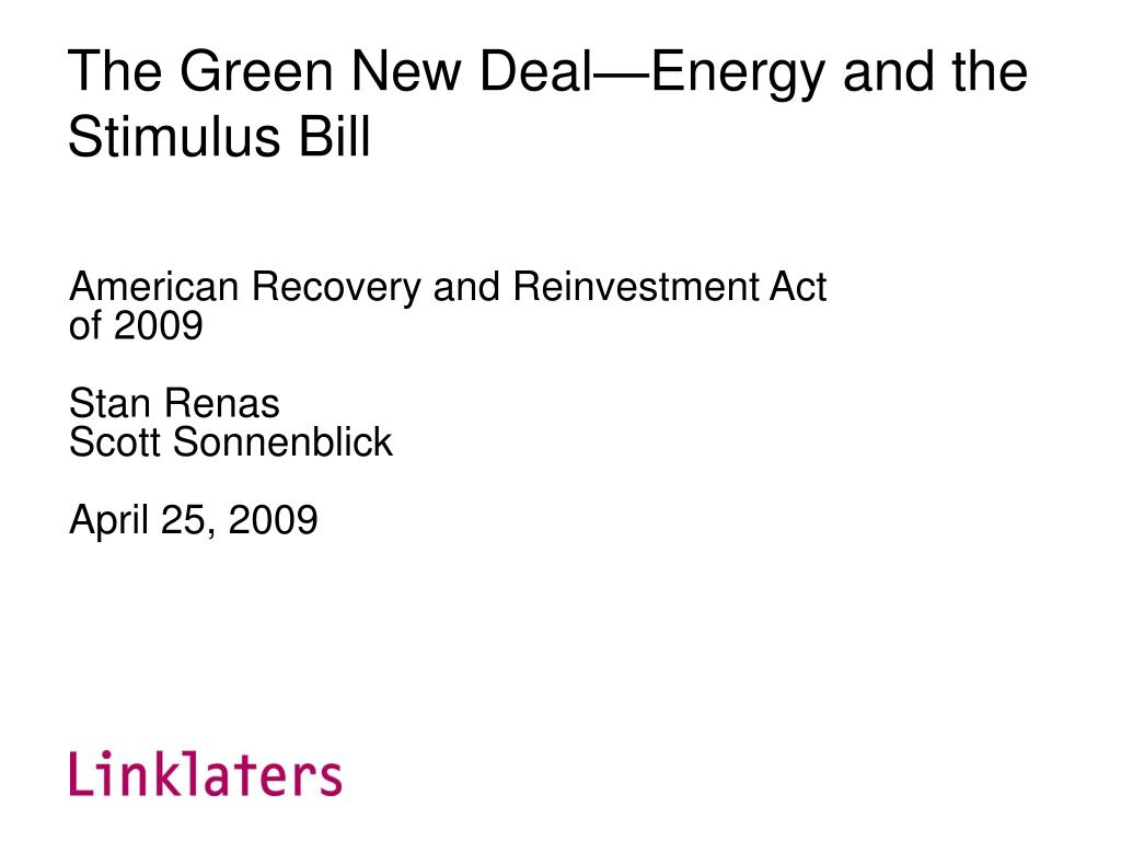 the green new deal energy and the stimulus bill l.