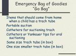 emergency bag of goodies go bag