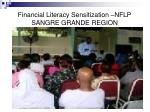 financial literacy sensitization nflp sangre grande region