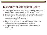 testability of self control theory