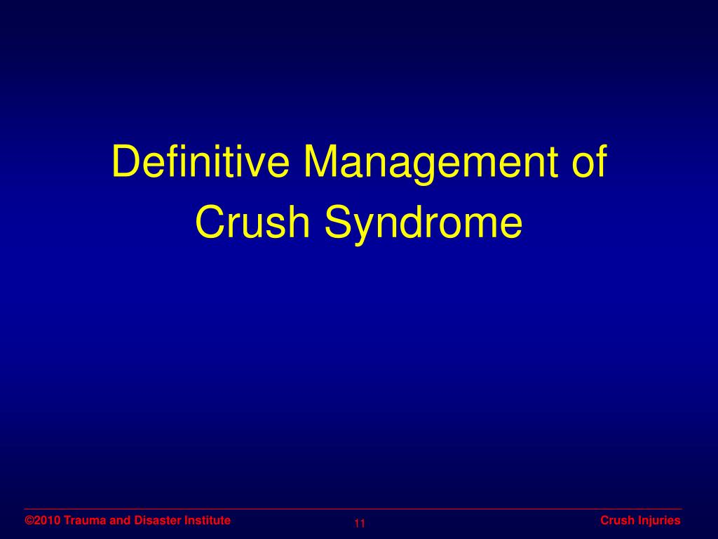 Definitive Management of Crush Syndrome