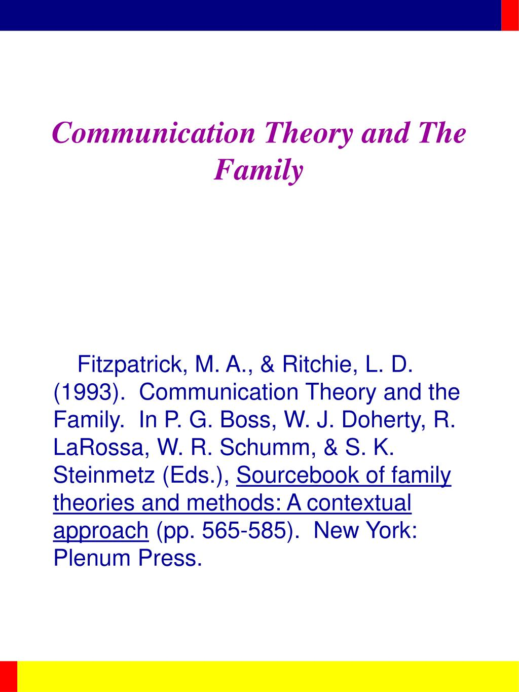 communication theory and the family l.