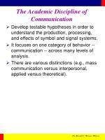 the academic discipline of communication