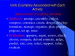 verb examples associated with each activity highest levels of cognitive demands