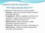 auditors ask the question what high criticality risks exist