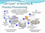 life cycle of security process provisioning