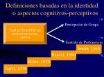 definiciones basadas en la identidad o aspectos cognitivos perceptivos