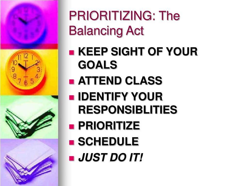 PRIORITIZING: The Balancing Act