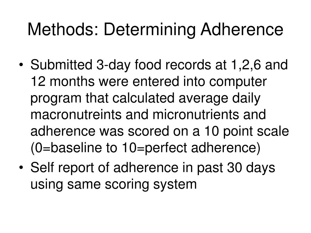 Methods: Determining Adherence