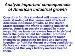 analyze important consequences of american industrial growth