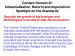 content domain iii industrialization reform and imperialism spotlight on the standards