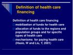 definition of health care financing